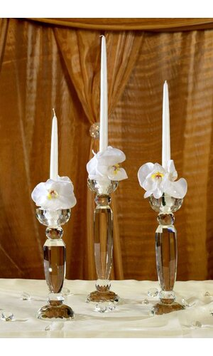 "9.75"" / 11"" / 12.25"" CRYSTAL SINGLE LITE CANDLE HOLDER CLEAR"