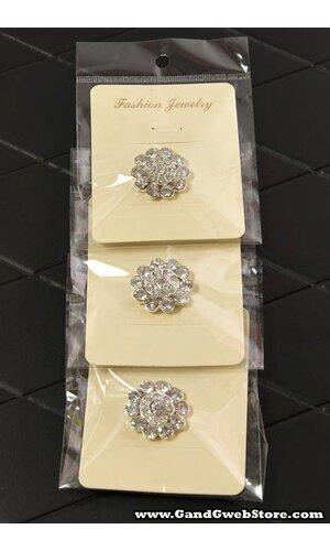 25MM ROUND RIBBON BUTTON W/DIAMOND CRYSTAL PKG/3