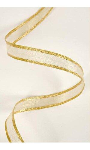 "3/4"" WIRED METALLIC ORGANZA RIBBON W/IRIDESCENT EDGE GOLD X25YDS"