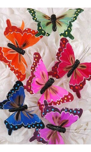 """3"""" FEATHER BUTTERFLY ASSORTED PKG/12"""