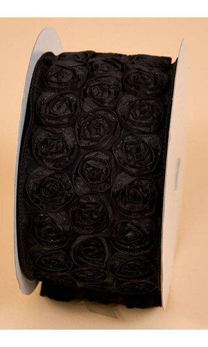 "4"" X 10YDS TAFFETA ROSE WIRE RIBBON BLACK"