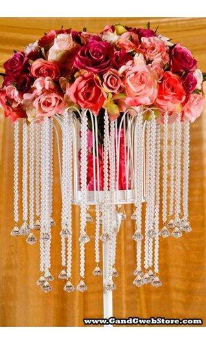 """31"""" TABLE TOP CANDLE HOLDER W/BEADS SHINY WHITE"""