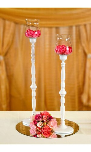 """28.35""""/33"""" CANDLE HOLDER GLASS/WHITE"""