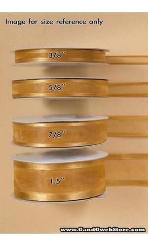 SHEER SATIN W/GOLD TRIM RIBBON - GOLD #27