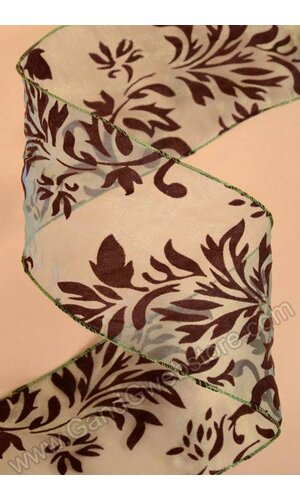 """4"""" X 10YDS SHEER FLOCKED WIRED RIBBON GREEN/BROWN"""