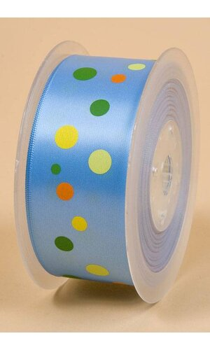 "1-1/2"" X 25YDS SINGLE FACE SATIN W/PRINTED DOTS COPEN #335"