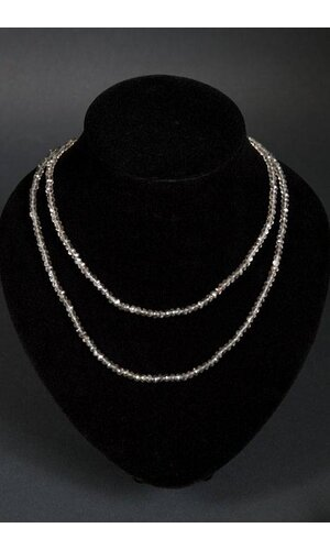 "46"" MINI FACETED CRYSTAL NECKLACE GREY"