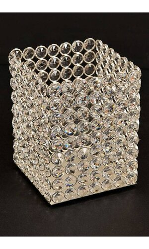 """5"""" X 5"""" X 6.5"""" CRYSTAL BEAD CANDLE HOLDER SILVER/CRYSTAL"""