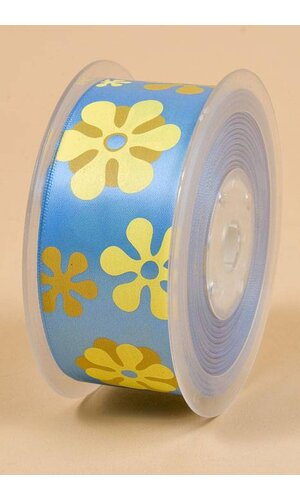 "1-1/2"" X 25YDS SINGLE FACE SATIN W/PRINTED FLOWERS COPEN #335"