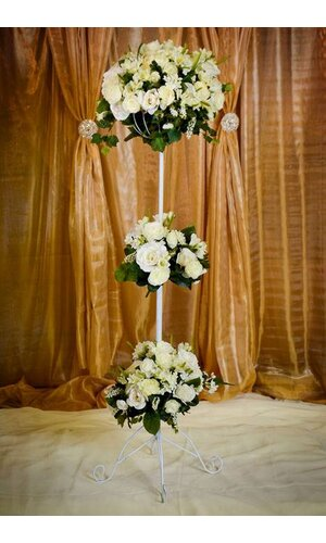 """33"""" - 55.5"""" ADJUSTABLE BOUQUET STAND WHITE"""