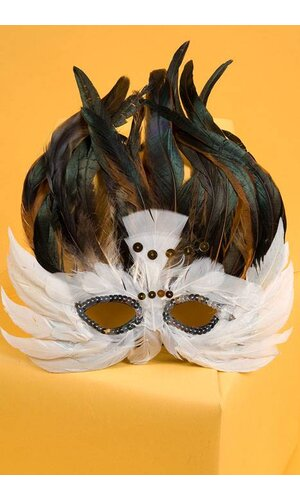 FEATHER MASK WHITE/BROWN