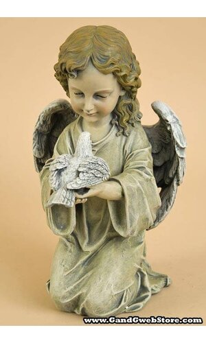 "11.5"" KNEELING ANGEL WITH BIRD"