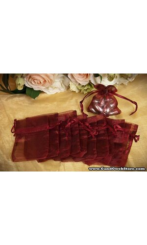"3"" X 4"" SHEER POUCHES BAG BURGUNDY PKG/12"