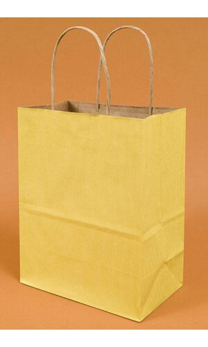 "8"" X 5"" X 10'' CUB STRIPE KRAFT SHOPPING BAG YELLOW PKG/10"