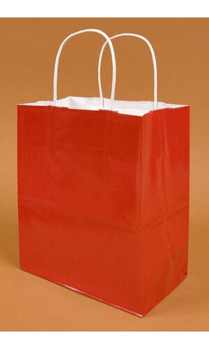 "8"" X 5"" X 10"" GLOSS SHOPPING BAG RED PKG/10"