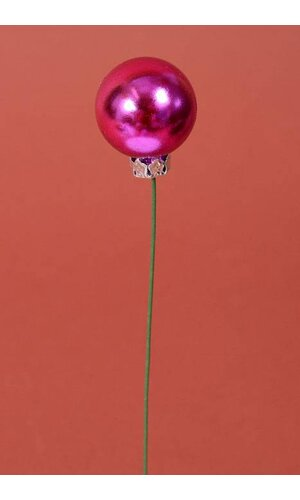 30MM SHINY BALL W/WIRE HOT PINK PKG/12