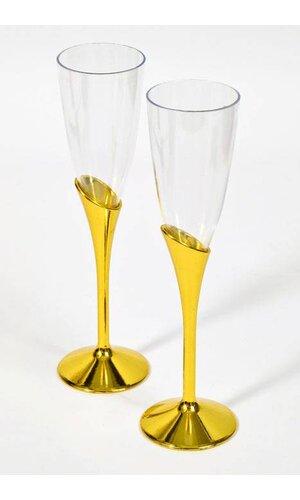 "9"" PLASTIC CHAMPAGNE GOBLETS GOLD/CLEAR PKG/12"