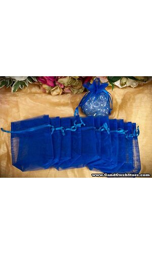 "3.5"" X 5"" X 1.5"" ORGANZA POUCHES ROYAL BLUE PKG/12"