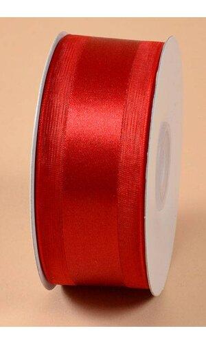 SATIN RIBBON W/ORGANZA EDGE RED #12