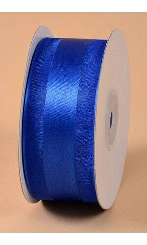 """1.5"""" X 25YDS SATIN RIBBON W/ORGANZA EDGE ROYAL BLUE #22"""