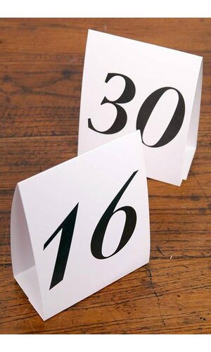 NUMBERED TABLE TENTS 16-30 PKG/15