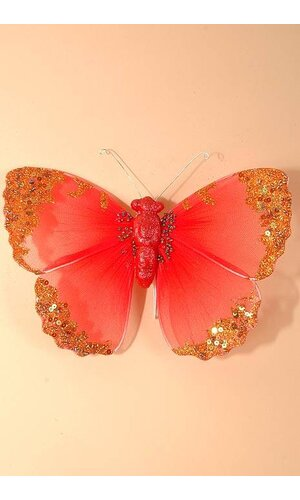 "8"" GLITTER SHEER BUTTERFLY RED"