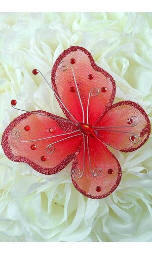 """5"""" WIRED DECORATION BUTTERFLY RED PKG/20"""