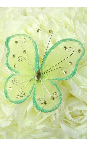 """5"""" WIRED DECORATION BUTTERFLY APPLE GREEN"""