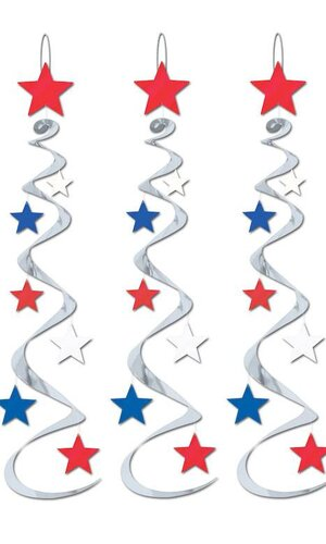 """30"""" HANGING STAR WHIRLS RED/SILVER/BLUE PKG/3"""