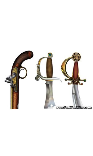 """19"""" - 21"""" PIRATE WEAPON CUTOUTS PRINTED 2 SIDED PKG/3"""