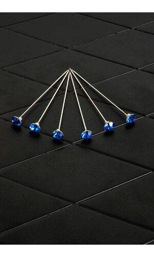 "2.75"" RHINESTONE PIN ROYAL BLUE PKG/12"