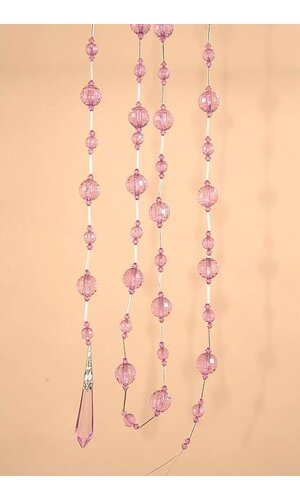 "72"" ACRYLIC ROUND FACTED BEAD GARLAND PURPLE EA"
