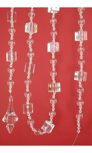 "72"" ACRYLIC SQUARE ROUND FACET BEAD GARLAND CLEAR EA"